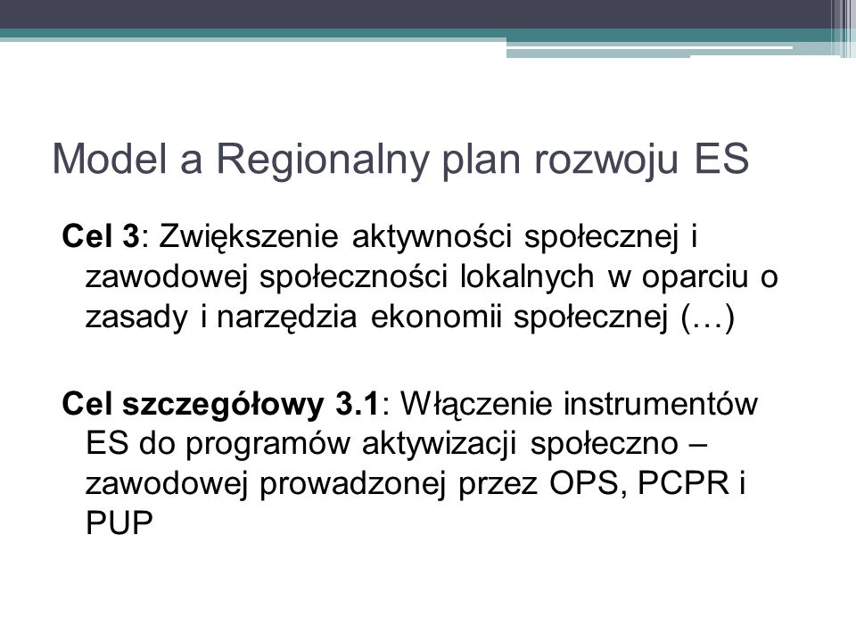 Model a Regionalny plan rozwoju ES