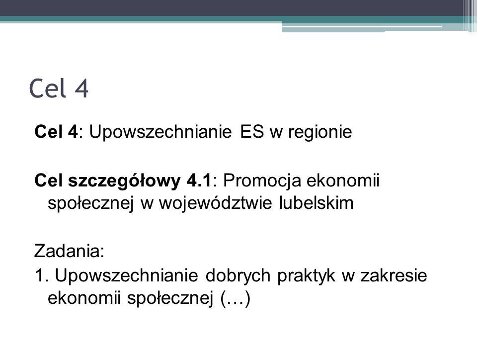 Cel 4 Cel 4: Upowszechnianie ES w regionie