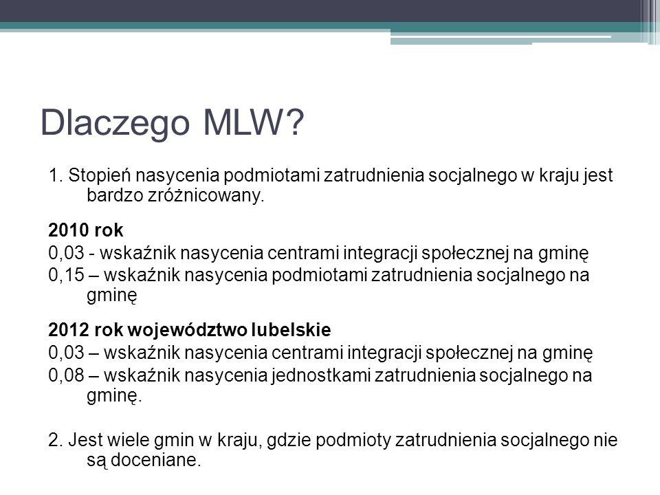 Dlaczego MLW 1. Stopień nasycenia podmiotami zatrudnienia socjalnego w kraju jest bardzo zróżnicowany.