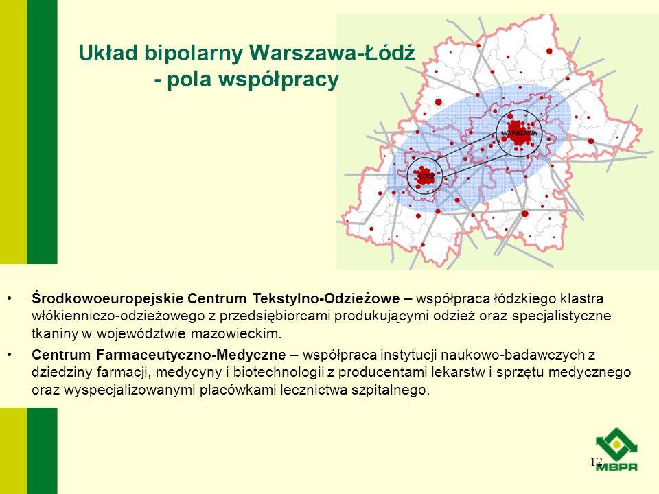 Układ bipolarny Warszawa-Łódź - pola współpracy