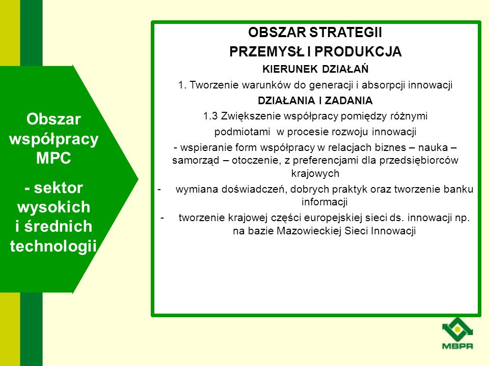 - sektor wysokich i średnich technologii