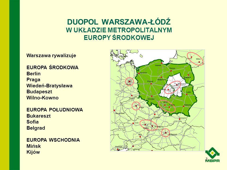 DUOPOL WARSZAWA-ŁÓDŹ W UKŁADZIE METROPOLITALNYM EUROPY ŚRODKOWEJ