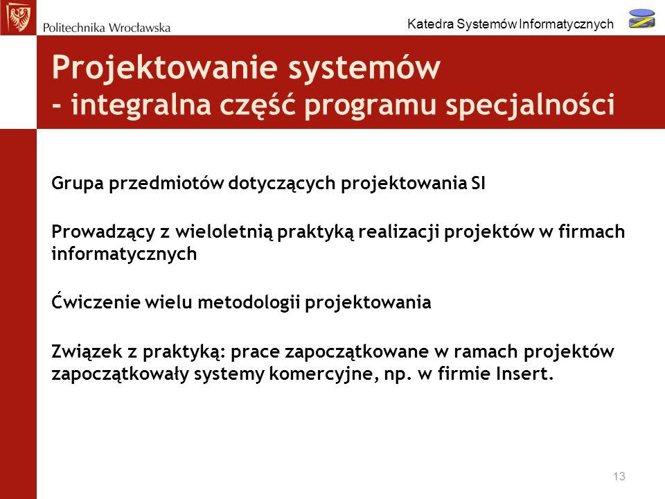 Projektowanie systemów - integralna część programu specjalności