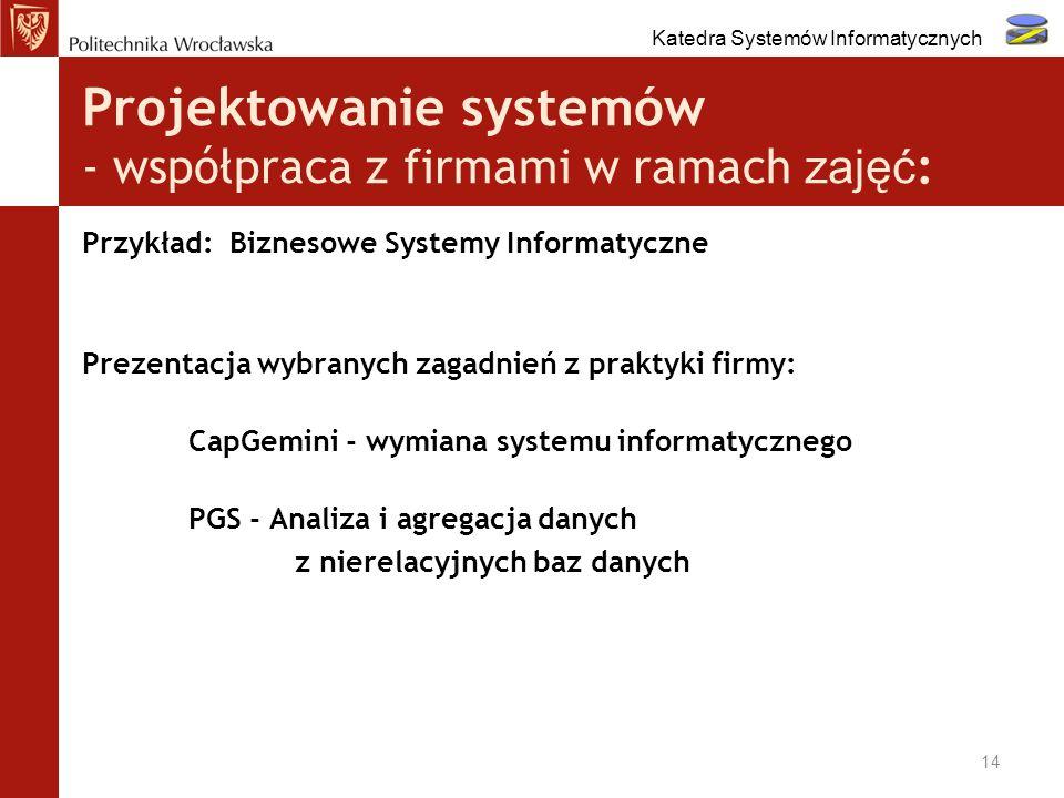 Projektowanie systemów - współpraca z firmami w ramach zajęć: