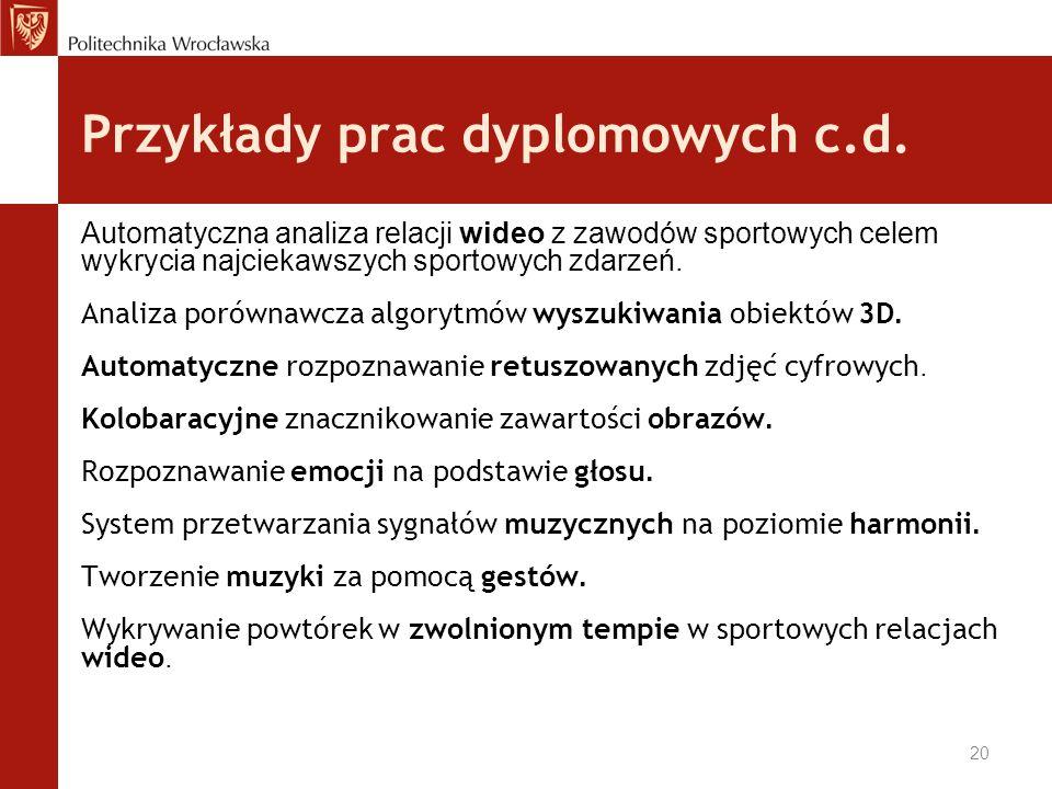 Przykłady prac dyplomowych c.d.