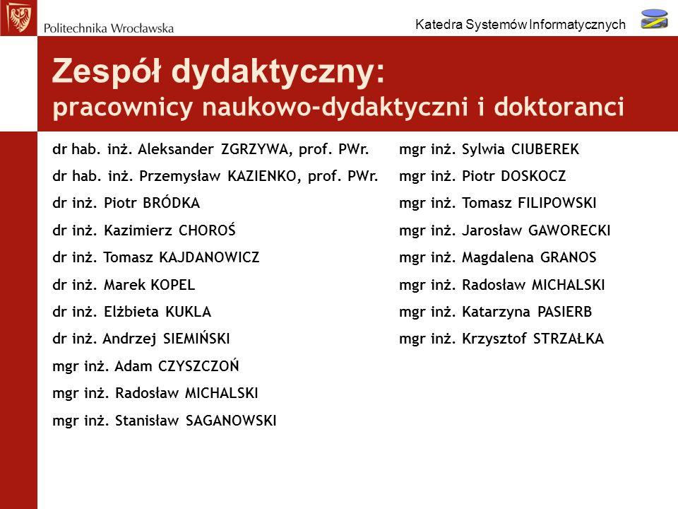 Zespół dydaktyczny: pracownicy naukowo-dydaktyczni i doktoranci
