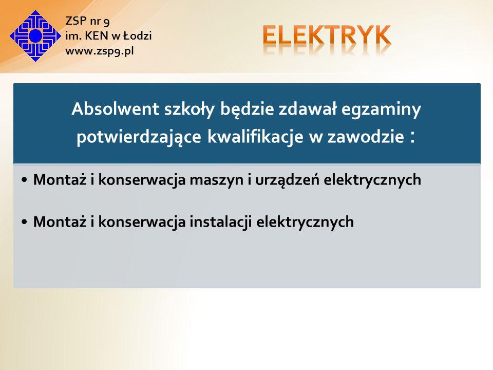 elektryk ZSP nr 9. im. KEN w Łodzi. www.zsp9.pl. Absolwent szkoły będzie zdawał egzaminy potwierdzające kwalifikacje w zawodzie :
