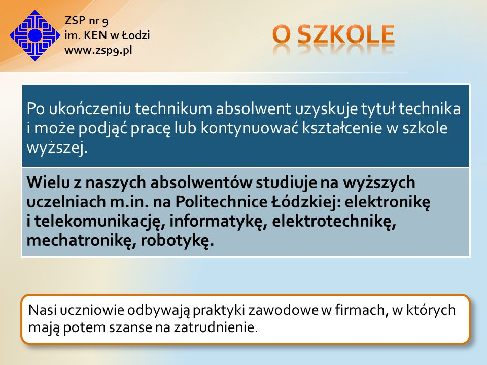 O szkole ZSP nr 9. im. KEN w Łodzi. www.zsp9.pl.