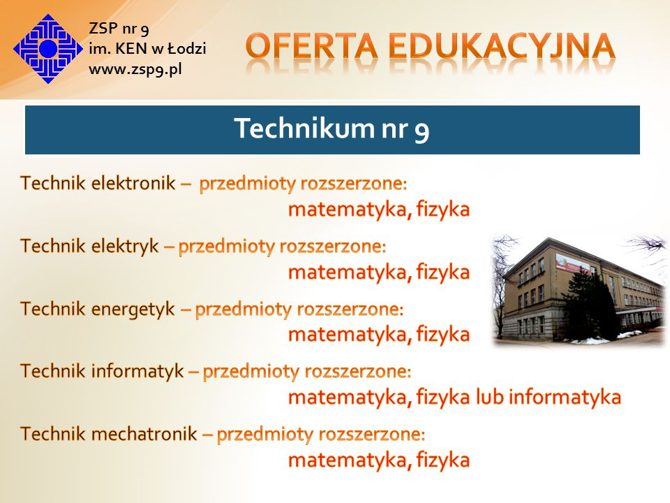 Oferta edukacyjna Technik elektronik – przedmioty rozszerzone:
