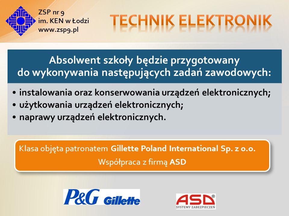 Technik elektronik ZSP nr 9. im. KEN w Łodzi. www.zsp9.pl. Absolwent szkoły będzie przygotowany do wykonywania następujących zadań zawodowych: