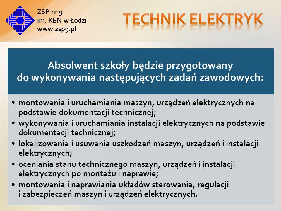 Technik elektryk ZSP nr 9. im. KEN w Łodzi. www.zsp9.pl. Absolwent szkoły będzie przygotowany do wykonywania następujących zadań zawodowych: