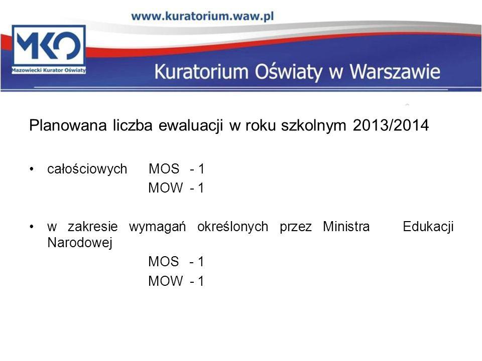 Planowana liczba ewaluacji w roku szkolnym 2013/2014
