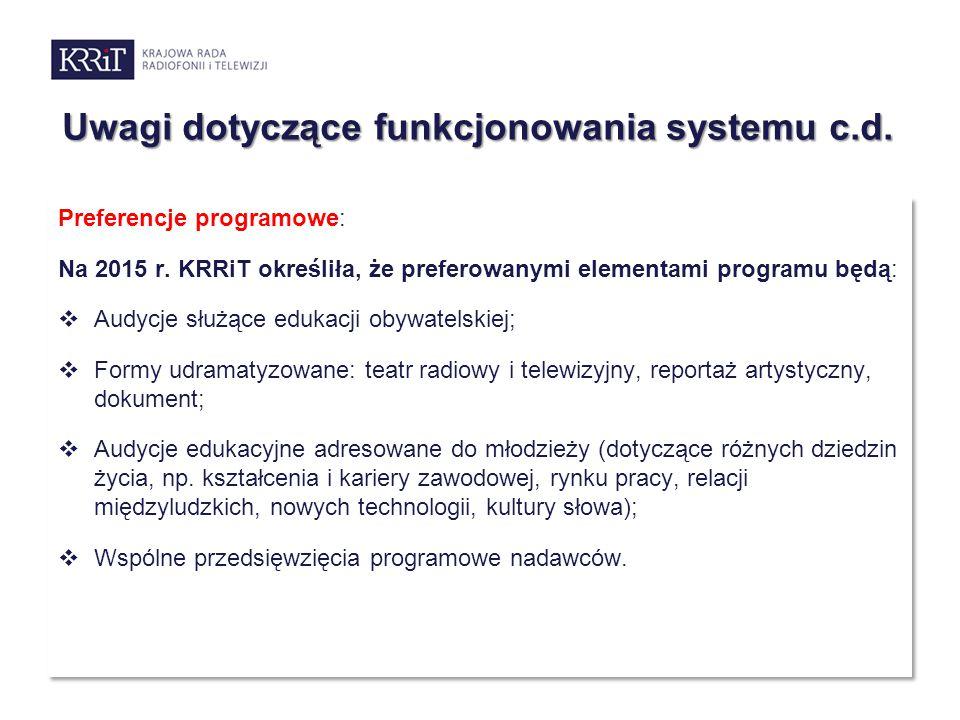 Uwagi dotyczące funkcjonowania systemu c.d.