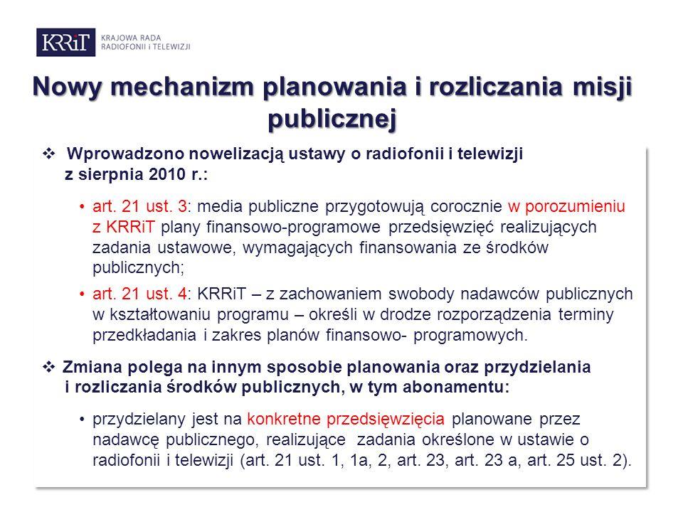 Nowy mechanizm planowania i rozliczania misji publicznej