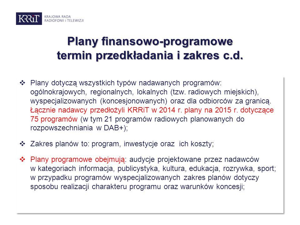 Plany finansowo-programowe termin przedkładania i zakres c.d.