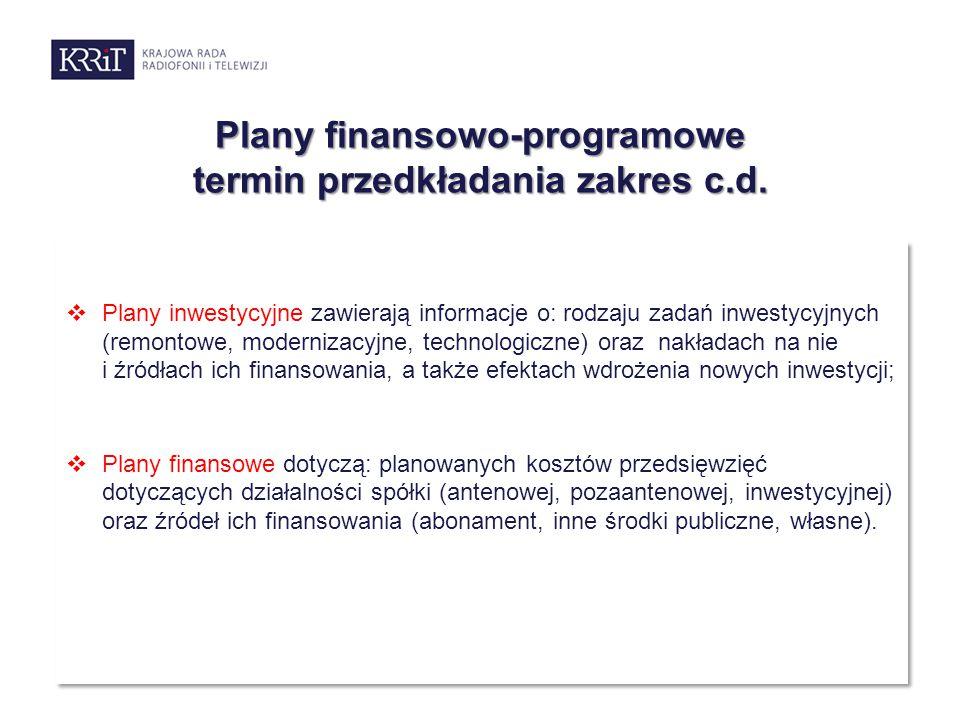 Plany finansowo-programowe termin przedkładania zakres c.d.