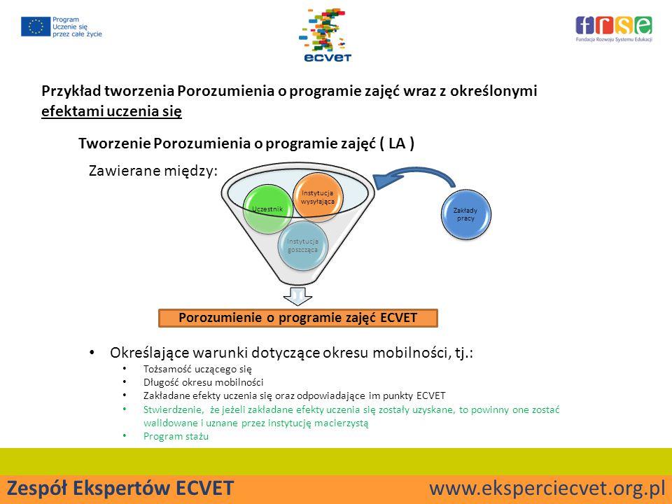 Porozumienie o programie zajęć ECVET