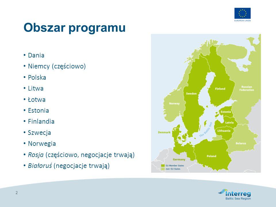 Obszar programu Dania Niemcy (częściowo) Polska Litwa Łotwa Estonia