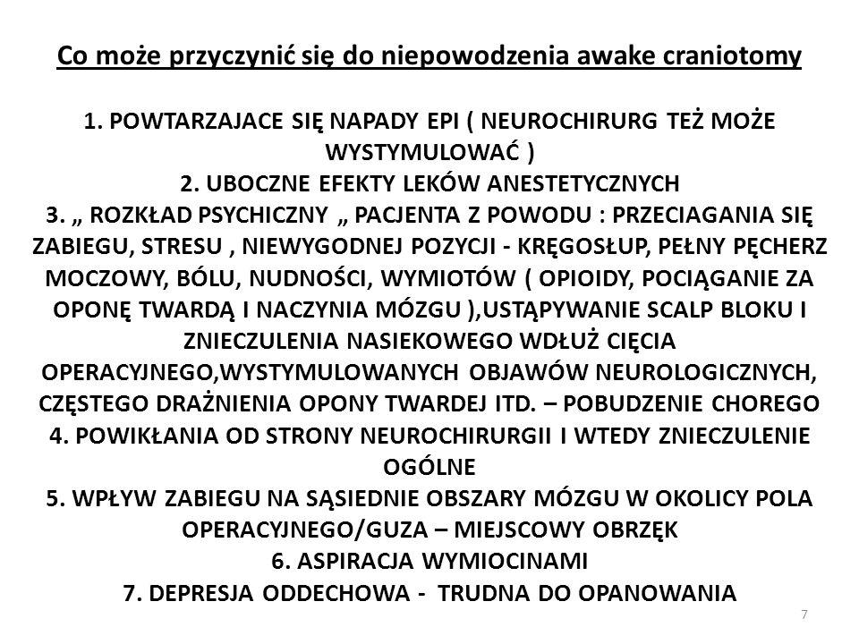 Co może przyczynić się do niepowodzenia awake craniotomy 1