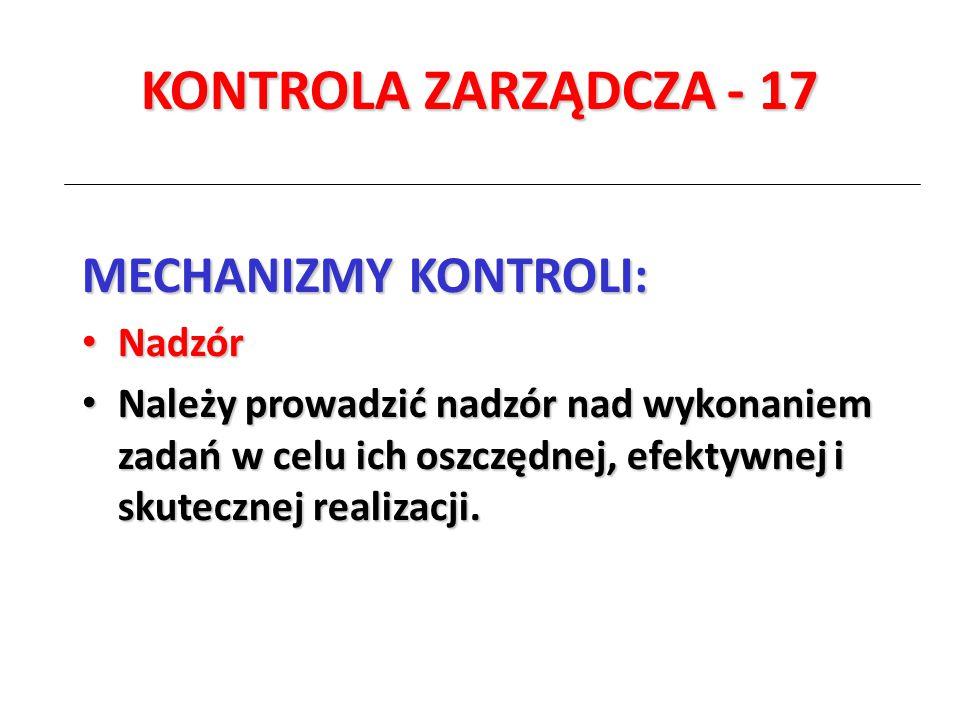 KONTROLA ZARZĄDCZA - 17 MECHANIZMY KONTROLI: Nadzór
