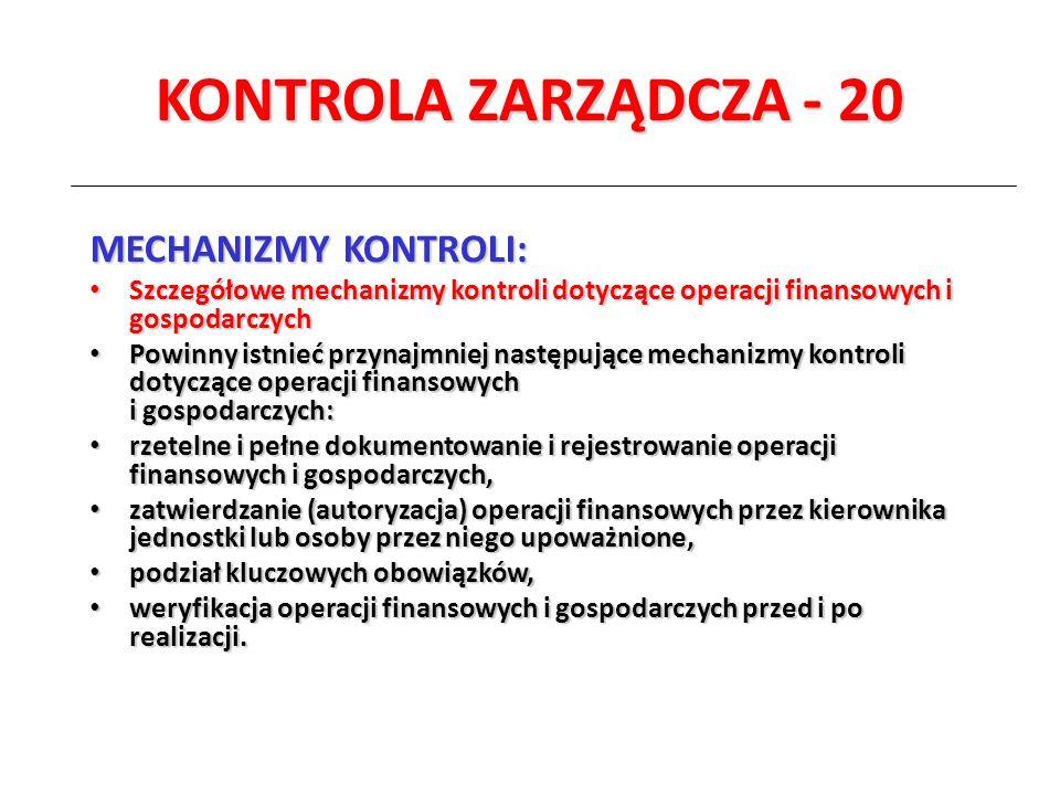 KONTROLA ZARZĄDCZA - 20 MECHANIZMY KONTROLI: