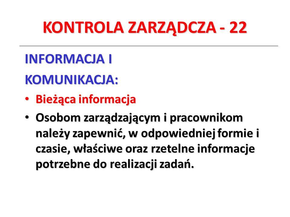 KONTROLA ZARZĄDCZA - 22 INFORMACJA I KOMUNIKACJA: Bieżąca informacja