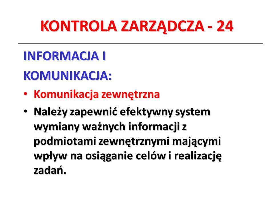 KONTROLA ZARZĄDCZA - 24 INFORMACJA I KOMUNIKACJA: