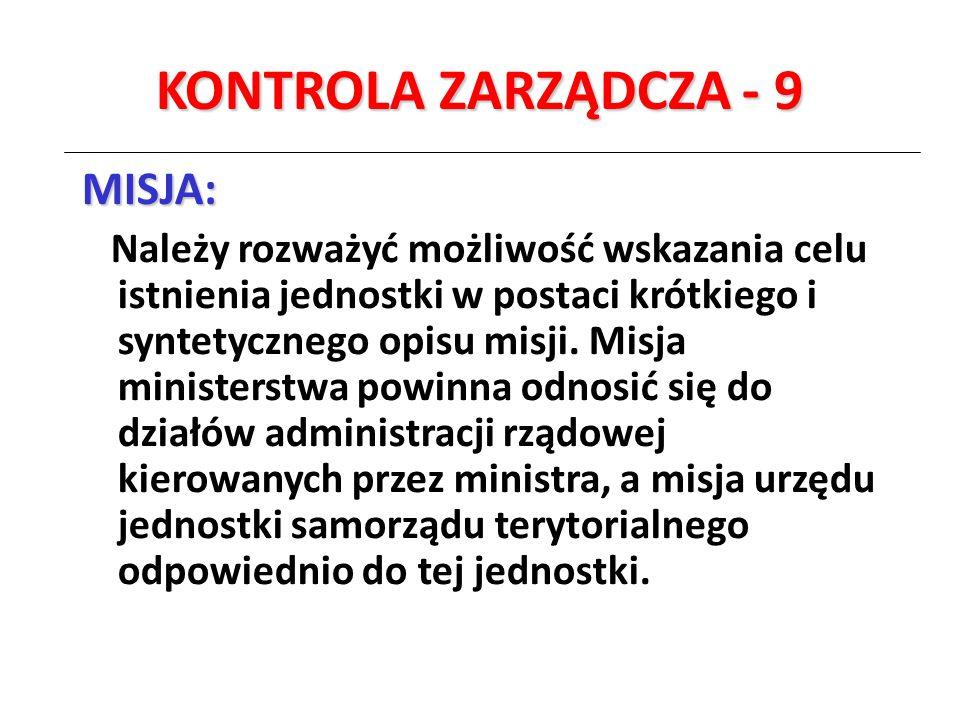 KONTROLA ZARZĄDCZA - 9 MISJA: