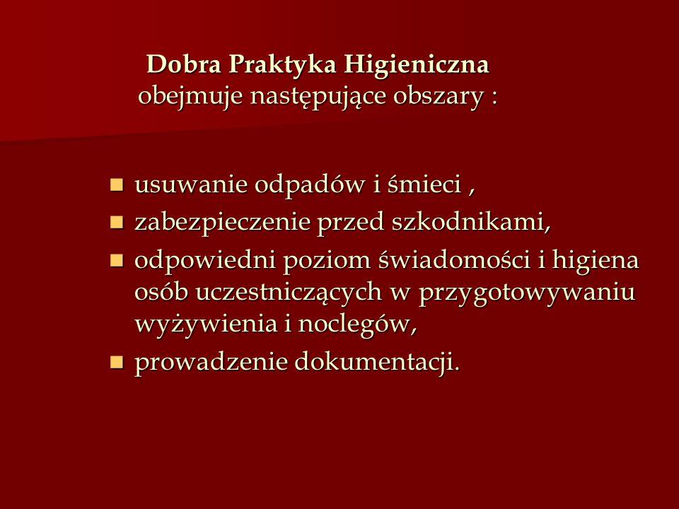Dobra Praktyka Higieniczna obejmuje następujące obszary :