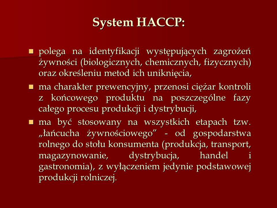 System HACCP: polega na identyfikacji występujących zagrożeń żywności (biologicznych, chemicznych, fizycznych) oraz określeniu metod ich uniknięcia,