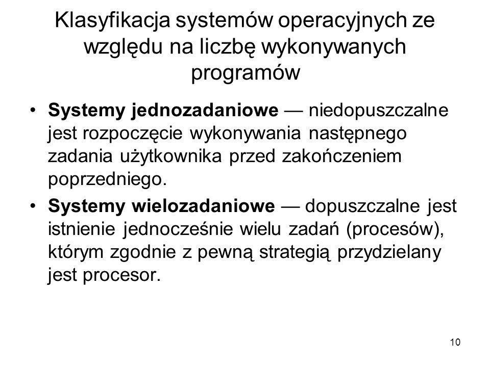 Klasyfikacja systemów operacyjnych ze względu na liczbę wykonywanych programów