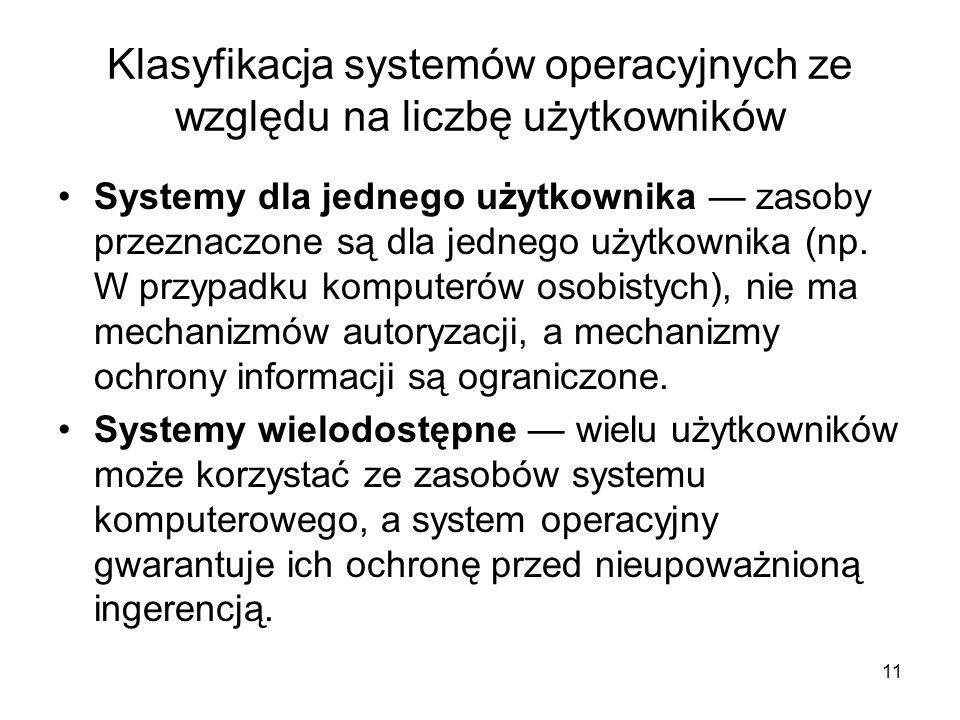 Klasyfikacja systemów operacyjnych ze względu na liczbę użytkowników