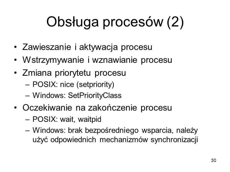 Obsługa procesów (2) Zawieszanie i aktywacja procesu