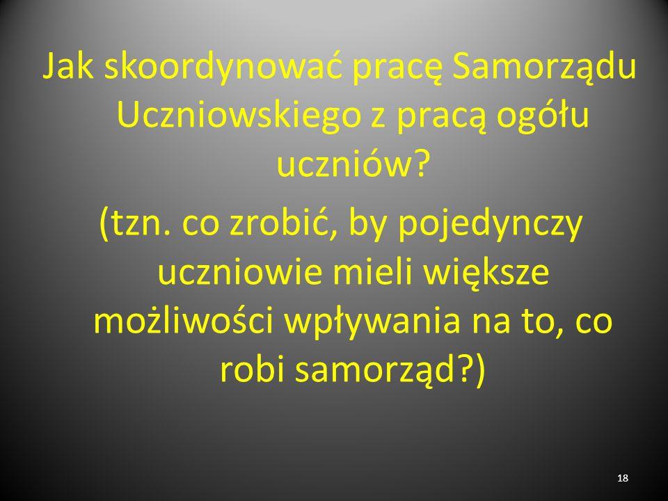Jak skoordynować pracę Samorządu Uczniowskiego z pracą ogółu uczniów