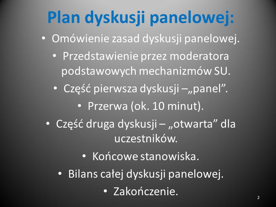 Plan dyskusji panelowej: