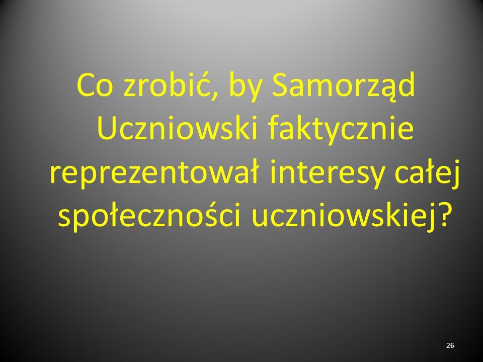 Co zrobić, by Samorząd Uczniowski faktycznie reprezentował interesy całej społeczności uczniowskiej