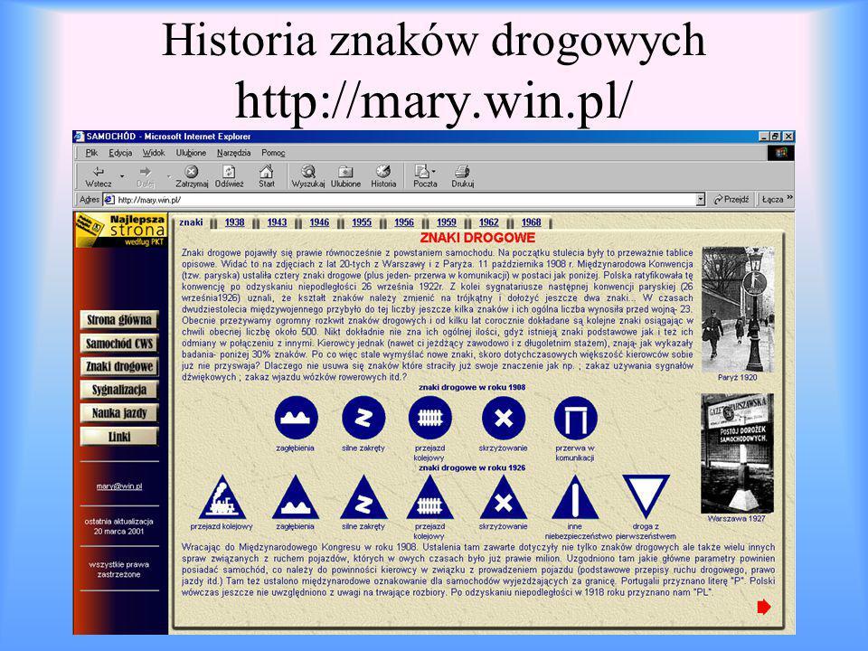 Historia znaków drogowych http://mary.win.pl/