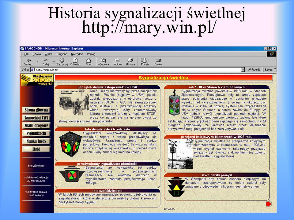 Historia sygnalizacji świetlnej http://mary.win.pl/