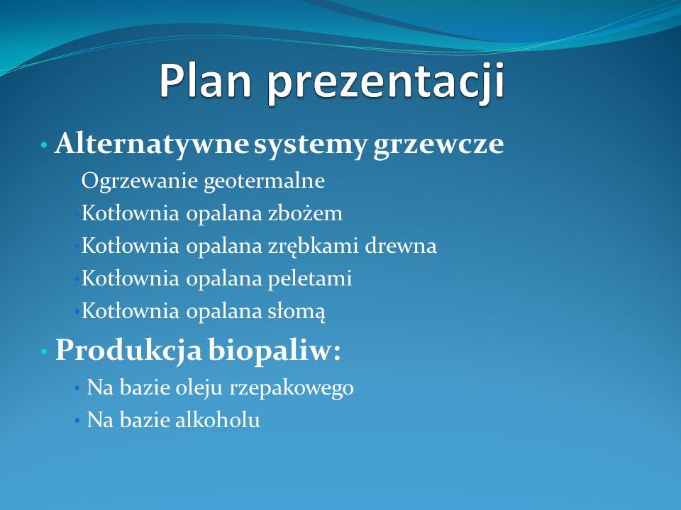 Plan prezentacji Alternatywne systemy grzewcze Produkcja biopaliw: