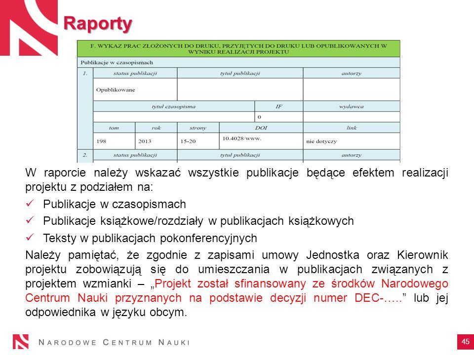 Raporty W raporcie należy wskazać wszystkie publikacje będące efektem realizacji projektu z podziałem na: