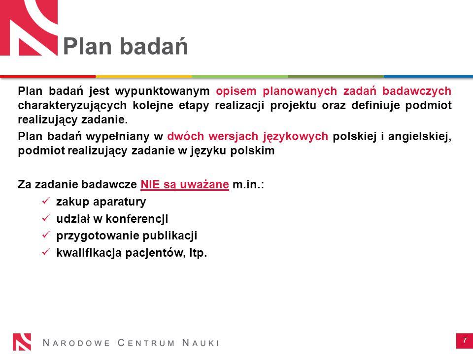Plan badań