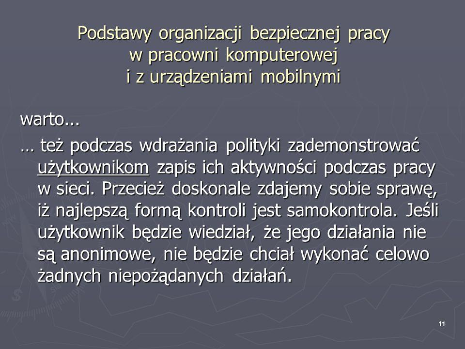 Podstawy organizacji bezpiecznej pracy w pracowni komputerowej i z urządzeniami mobilnymi