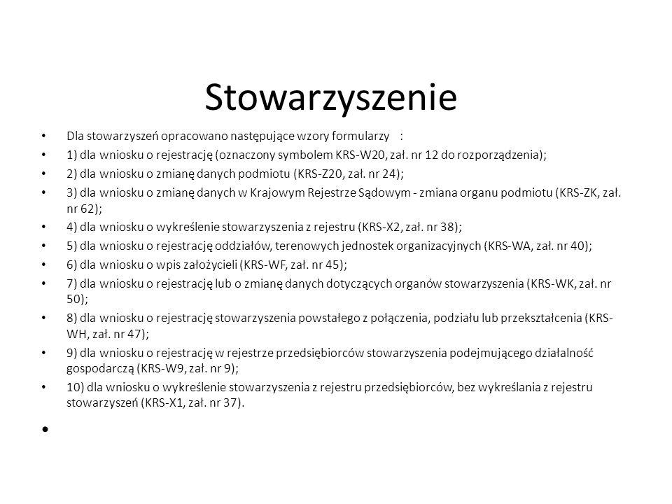 Stowarzyszenie Dla stowarzyszeń opracowano następujące wzory formularzy :
