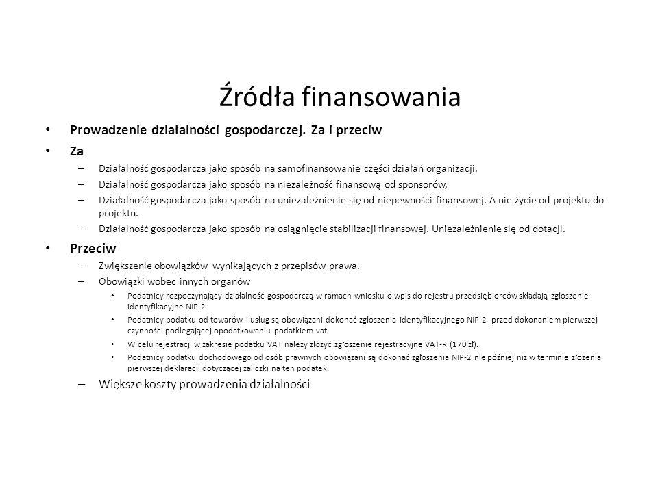 Źródła finansowania Prowadzenie działalności gospodarczej. Za i przeciw. Za.