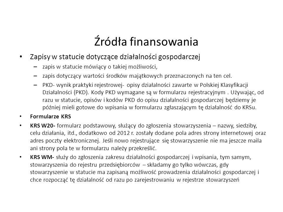 Źródła finansowania Zapisy w statucie dotyczące działalności gospodarczej. zapis w statucie mówiący o takiej możliwości,