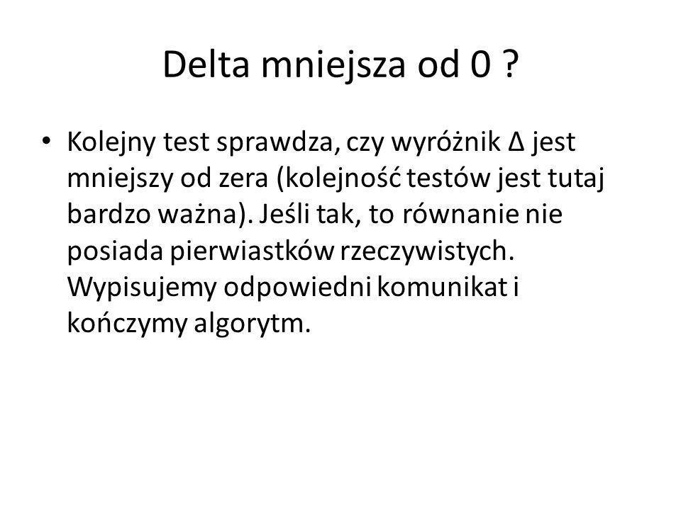 Delta mniejsza od 0