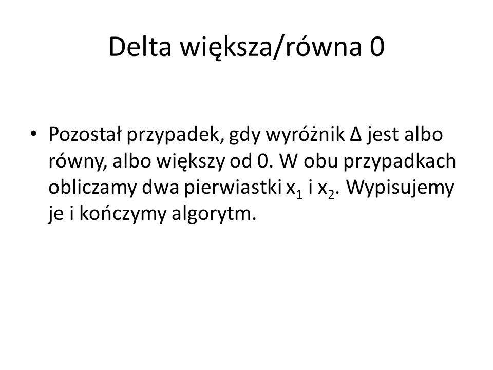 Delta większa/równa 0