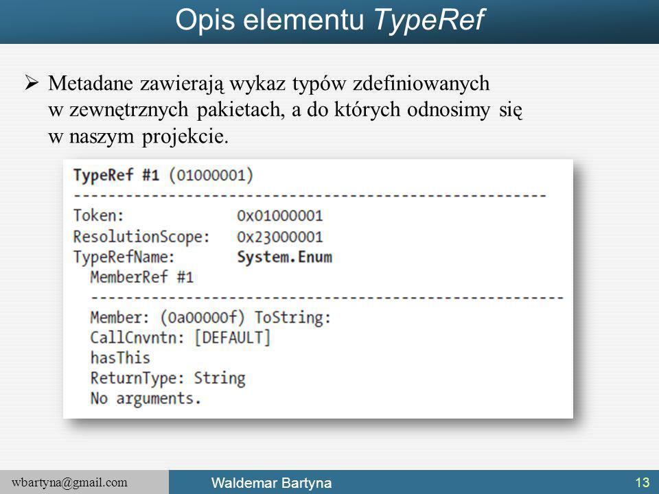 Opis elementu TypeRef Metadane zawierają wykaz typów zdefiniowanych w zewnętrznych pakietach, a do których odnosimy się w naszym projekcie.