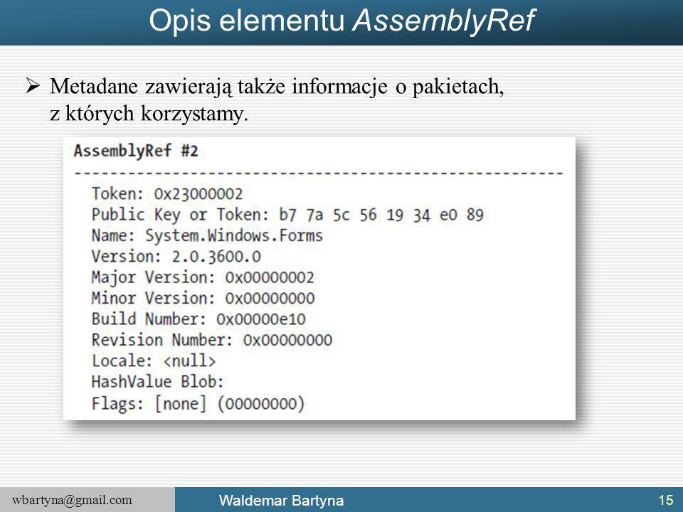 Opis elementu AssemblyRef