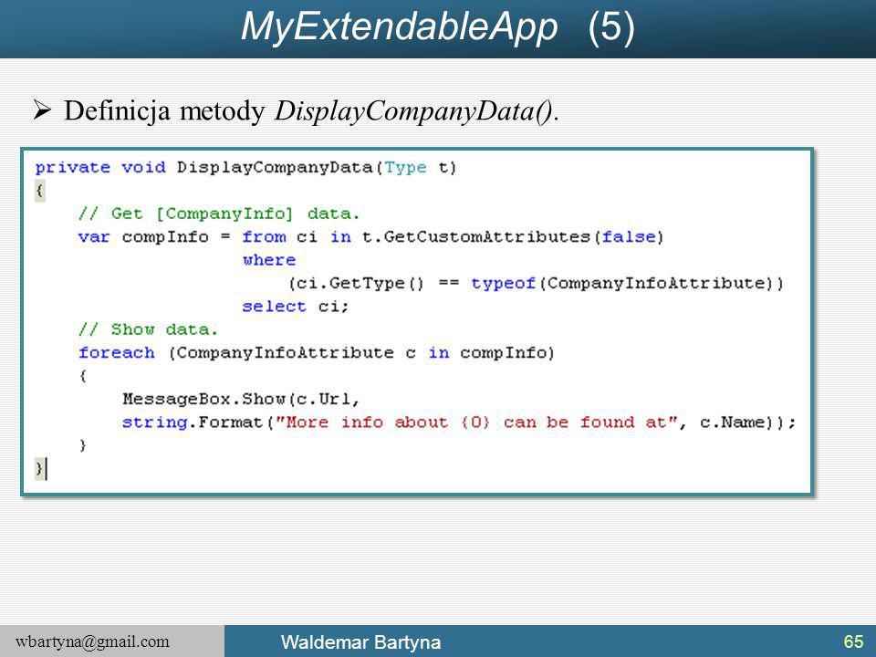 MyExtendableApp (5) Definicja metody DisplayCompanyData().